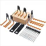 Synlyn 6 ganchos de pared para garaje, almacenamiento, doble gancho, portaherramientas de hierro para montaje en pared, bicicleta, herramientas eléctricas, escaleras o artículos a granel