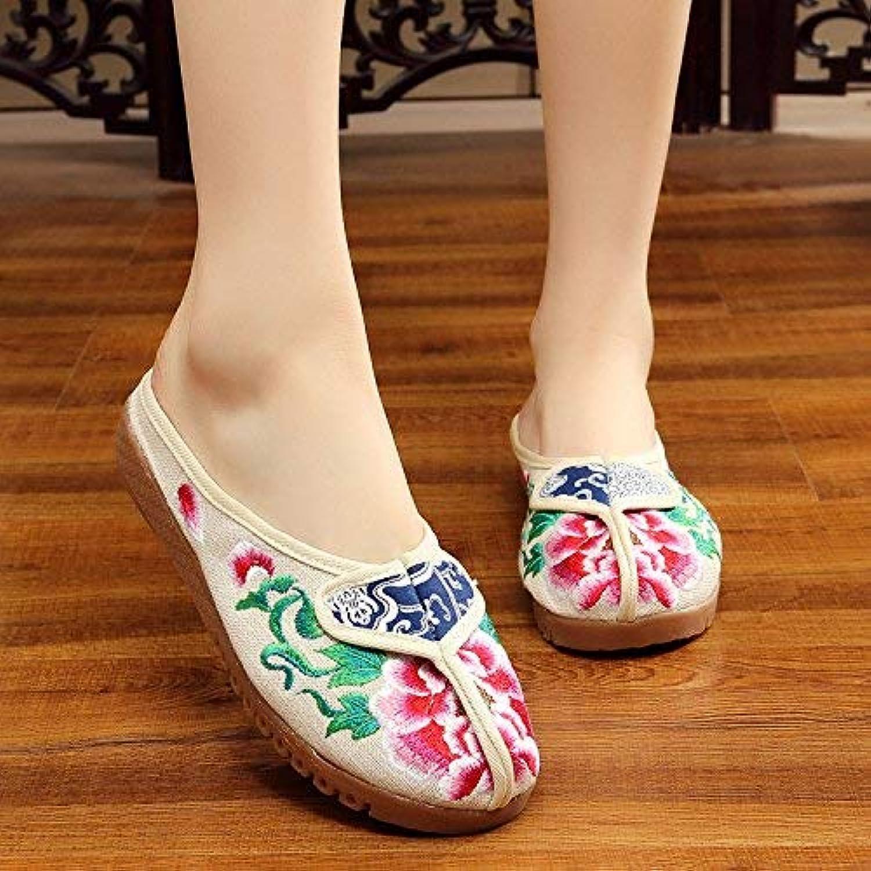 Fuxitoggo Bestickte Schuhe, sehnen Sohle, ethnischer Stil, weiblicher flip Flop, Mode, bequem, Sandalen, Meter weiß, 38 (Farbe   -, Größe   -)  | Good Design