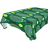Chen Miranda Home Decor Tennis Rackets Pattern Spillproof Oblong Tablecloth 54x72 Inches Square Polyester Dust proof Table cloth Cover for Dinner kitchen Living Party Decor