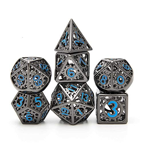 Tbrand Metal Dice Set D&D, Dungeon and Dragon Dice Set, Punk Style Gear Digital Rainbow Unique Polyhedral Game RPG DND Metal Dice Set