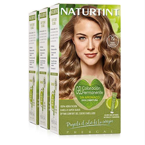 Naturtint Coloración7G Rubio Dorado. Tinte sin Amoniaco. 100% Cobertura de canas e Hidratación. Ingredientes y Aceites Vegetales. Color Natural y Duradero. Pack de 3