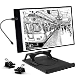 UKON A4 LED Tavoletta Luminosa per Disegno,Ultra-Sottile Light Board Tavolette Disegno Tracing Pad per Artista,Cavo di Alimentazione USB Dimmable Light Box per Drawing Sketching (A4 con Supporto)