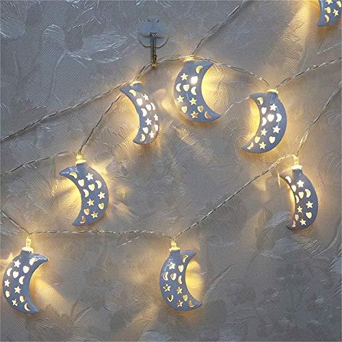 Outdoor String Lights Gouden IJzeren Maan Decoratie Lamp Eid Mubarak Lantaarn Batterij Doos Lamp