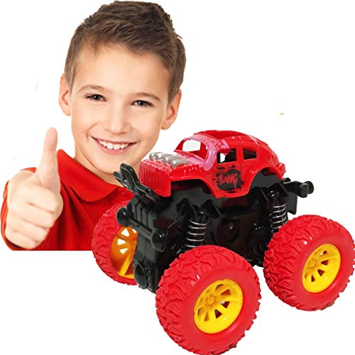 Pull Back Cars Toys for Boys, Monster Truck Toys,Four-Wheel Drive Inertia Car Toys, Car Party Favors for Toddlers Boys Age 2-5 Year Gifts for Kids Birthday (Red)
