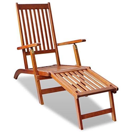 Lingjiushopping Chaise longue d'extérieur pliable en bois d'acacia avec repose-pieds. Dimensions totales (entièrement dépliée) : 167 x 56 x 75 cm (L x P x H).