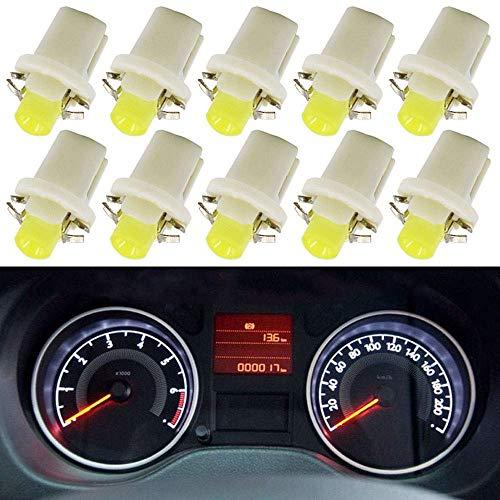 10 bombillas LED T5 B8.5D para salpicadero cuadro instrumentos COB blanco bombillas luces 12 V