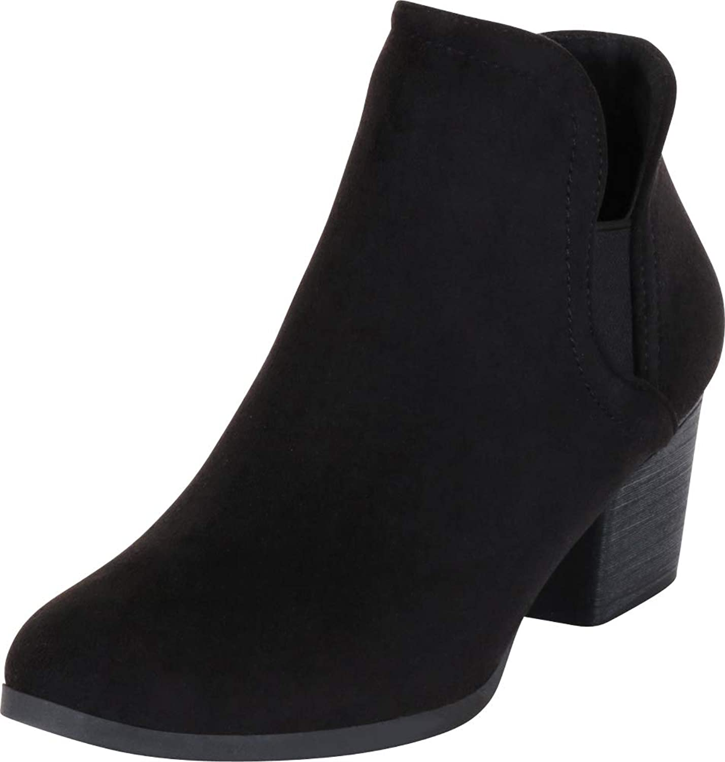 Cambridge Select Women's Western Side Cutout Chunky Stacked Heel Stretch Ankle Bootie