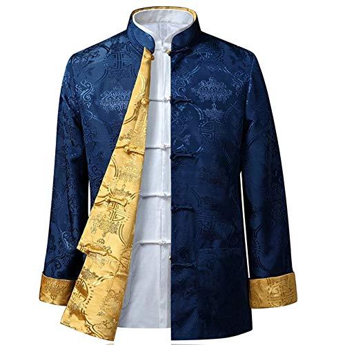 BOZEVON Männer/Frauen Chinesische Tang-Anzug Oberseiten - Beide Seiten Beschichten Jacke langärmelige Kampfkunst Kung Fu Hemden Chinesische Tang-Klage Nationale Kostüme, XL/Stil 05 - Männer