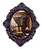 QHHALXZ Espejo de Maquillaje Espejo Ovalado Espejos de Pared Decorativos de Estilo Barroco, Espejo de tocador de baño Espejo de baño Vintage Morado 59x50cm