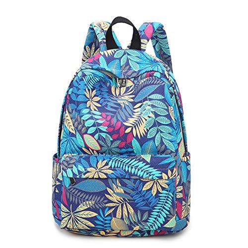 EVFIT Mochila para niñas con impresión de lona, mochila para adolescentes, para ocio, para niñas, niños, escuela, portátil, bolsa de colegio, (color: azul, tamaño: 30 x 14 x 39 cm)