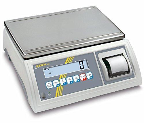 Balanza de mesa [Kern GAB 30K de 4P] de control y portionier Báscula con impresora integrada, rango de pesaje [Max]: 30kg, Lectura [D]: 0,2g, reproducibilidad: 0,2g, linealidad: 0,6g, kleinstes notebook Peso [Contar] g/unidades: 0,2g, placa de pesaje: BXT 365x 235mm (Acero Inoxidable)
