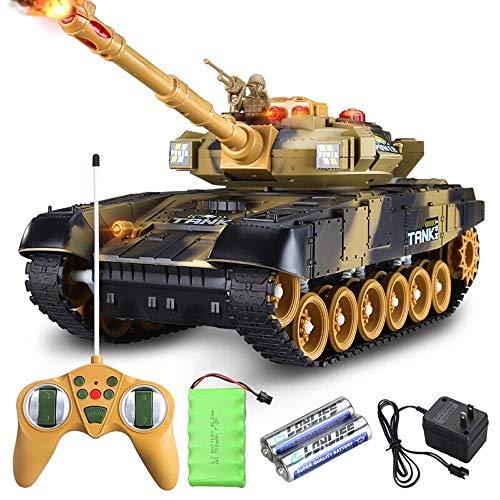 PETRLOY 44cm grandes estupendos inteligente Simulación II Guerra Mundial la defensa aérea del tanque de control remoto RC Militar carro de radio control tanques Panzer con sonido torreta giratoria y e