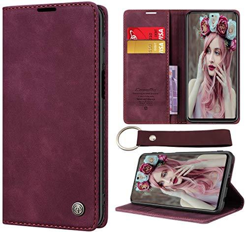 CaseNN Cover per Xiaomi Redmi Note 9 Pro / Redmi Note 9S Custodia Pelle con Porta Carte Fe Portafoglio Magnetica Flip Wallet Case per Donne Uomini Libro con Portachiavi ad Anello e Catena Vino Rosso