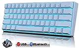 METIS メカニカルキーボード 機械式 ゲーミングキーボード 61キー Bluetooth 無線 USB 有線 青軸 防水 充電式 LEDバックライト オフィス/ゲーミング用 英語配列 日本語取扱説明書 (61キー, 白色)