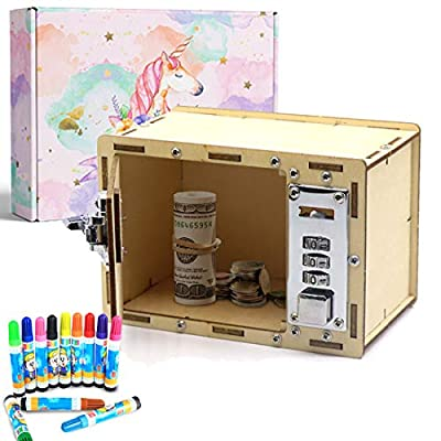 Amazon - 55% Off on DIY Personalized Kids Piggy Bank with Lock – Wood Arts and Crafts Set
