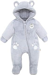 Minizone Baby Overalls mit Kapuze Schneeanzüge Fleece Strampler Spielanzug Footed Jumpsuit Winter Outfits