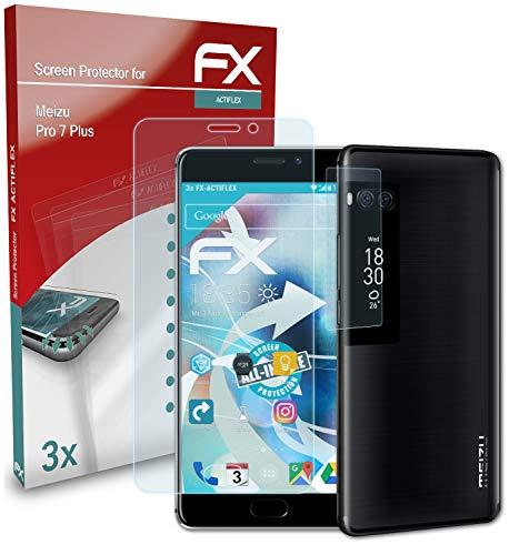 atFolix Schutzfolie kompatibel mit Meizu Pro 7 Plus Folie, ultraklare & Flexible FX Bildschirmschutzfolie (3er Set)