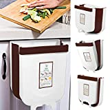 Vapeart Hanging Trash Can for Kitchen Cabinet Door, Collapsible Trash Bin Small Compact Garbage Can Attached to Cabinet Door Kitchen Drawer Bedroom Dorm Room Car Waste Bin-9L (Beige)