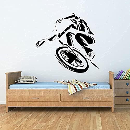 wwccy adesivi murali BMX rider adesivi murali bicicletta camera parete tatuaggio adesivi stile arte urbana decorazione camera da letto 84X80Cm