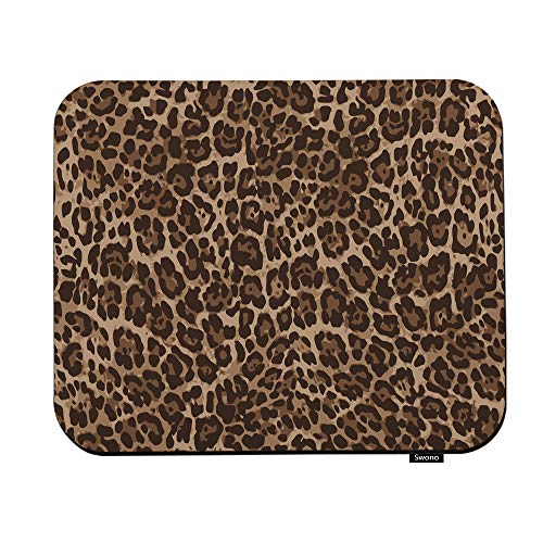 Swono Leopard Mouse Pads Vintage Animal Skin Leopard Pattern Mouse Pad for Laptop Funny Non-Slip Gaming Mouse Pad for Office Home Travel Mouse Mat 7.9'X9.5'