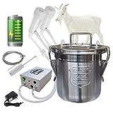 Hantop 6L Goat Milking Machine,Portable Pulsation Rechargeable Battery Powered...