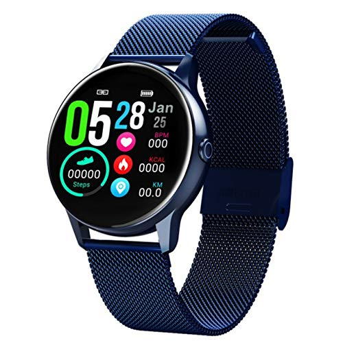 Smartwatch Bluetooth Fitness Armbanduhr 1.3 Zoll Voll Touchscreen IP68 Wasserdicht Sportuhr mit Pulsuhren Schlafmonitor Schrittzähler Kalorienzähler für Damen Herren iOS Android,Blue steel strap