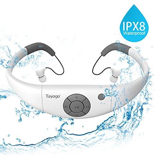 Tayogo MP3-Player, wasserdicht, mit Kopfhörern, 8 GB IPX8 Hi 3 m unter Wasser Schwimmen Wasserdicht 60 ℃ ideal zum Laufen, Reiten und andere Spa mit Wasser oder Sweat (Weiß)-MEHRWEG