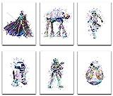 Star Wars Poster Watercolor Prints - Unframed Set Of 6 ( 8 X 10 Inch ) - Star Wars Decor - Bathroom, Bedroom Living Room Decor, Birthday Gift - Darth Vader, Stormtrooper, Boba Fett, ATAT R2D2, BB8
