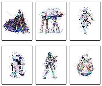 Herzii Prints - Star Wars Poster Watercolor Prints - Set Of 6 8x10 Inch - Star Wars Decor - Bathroom Bedroom Living Room Decor Birthday Gift - Darth Vader Stormtrooper Boba Fett ATAT R2D2 BB8