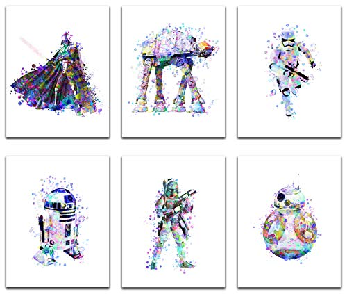 Star Wars Poster Watercolor Prints - Unframed Set Of 6 ( 8 X 10 Inch ) - Star Wars Decor - Bathroom, Bedroom Living Room Decor, Birthday Gift - Darth Vader, Stormtrooper, Boba Fett, ATAT R2D2, BB8