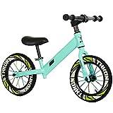 XRXX Kleinkind Laufrad 14 Zoll Gummi Stoßdämpfer Doppel Reifen Verstellbarer Sitz 360 ° Schwenkgriff Gehtraining Fahrrad Green