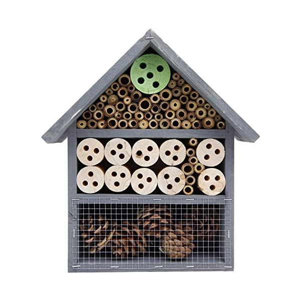 Garden Mile® Wooden Insect Bee Hive Garden Nesting Box House Natural Wood Shelter - Weather Resistant Hanging Insect Hotel - Attract Pollinating Insects Like Bees A Natural Pest Control Method