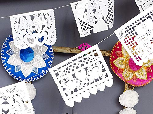 Mexican Papel Picado Banners 15 ft long WHITE bunting PLASTIC wedding garland, Cinco De Mayo Wedding Decorations, Bridal Shower Photo booth backdrop, Engagement party, Wedding backdrop banner