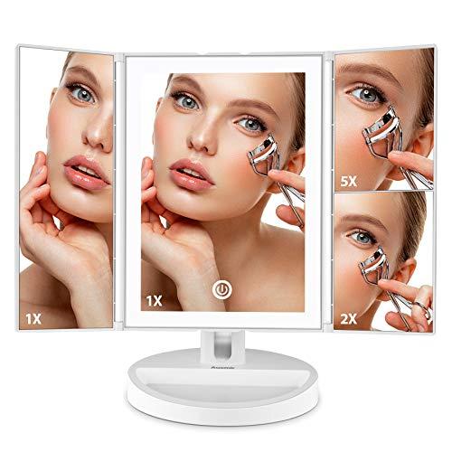 Auxmir Espejo Maquillaje Tríptico con Luz LED de Mesa con Aumento de 1X/2X/5X, 180 Giratorio Triple, con Pantalla Táctil, Recargable, para Maquillaje, Afeitado y Cuidado Facial, Blanco