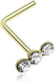 Triple Linear Gem L-Shaped 316L Surgical Steel Nose Stud Ring (Sold Individually)