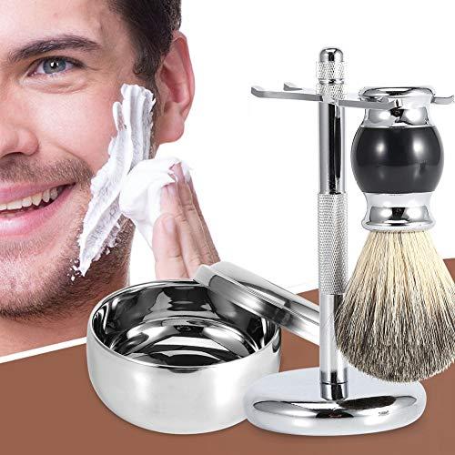 Cadeau D'Avril Outil de rasage pour homme, support de support pour outil de rasage pour homme professionnel + brosse à cheveux en faux blaireau + kit de bol de tasse de savon en alliage