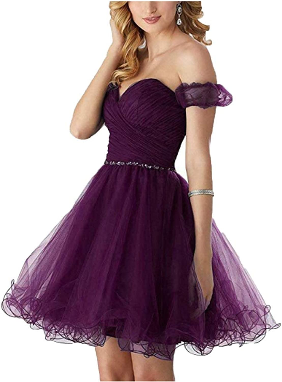FWVR Women's Off Shoulder Short Bridesmaid Dresses Tulle Prom Homecoming Dresses Ball Gown