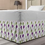 Ambesonne Artichoke Elastic Bed Skirt, Sketch Style Vegetables Hand Drawn Style Exotic Tasty Healthy Food, Wrap Around Fabric Bedskirt Dust Ruffle for Bedroom, Twin/Twin XL, Lime Green and Purple
