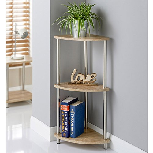 Svar Oak Finish 3 Tier Corner Storage Shelves Unit Stainless Steel Legs