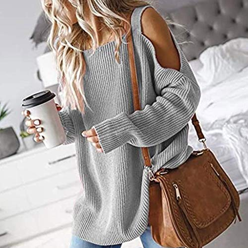 LWWOG Women Long-Sleeved Off-Shoulder Pullover Sweater Solid Color Fashion Comfortable Breathable Warm Autumn And Winter Sweater