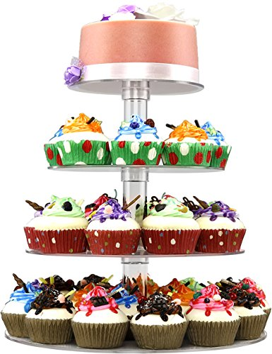Cupcake Stand - 4 Tiered Round Clear Acrylic Plastic Cupcake Stands Tower Display Tree for Wedding Birthday Treat Parties Baking Cups- DYCacrlic