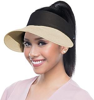 Straw Sun Hat for Women Wide Brim Sun Visor Summer Beach Cap Foldable