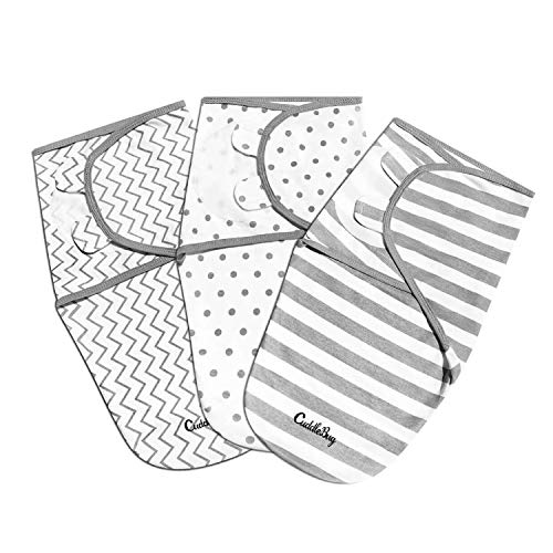 Cuddlebug Adjustable Baby Swaddle Blanket & Wrap (Spots & Stripes), Pack of 3 (Small/Medium 0-3 Months Old)