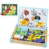 Pizarra Infantil Puzzle de Madera Pizarra Doble Cara Juguetes Montessori Magnetico Rompecabezas Caja de Madera Tablero de Dibujo Animal Puzzle Decoración Juguetes Educativos Juguetes Niños 3 4 5 Año