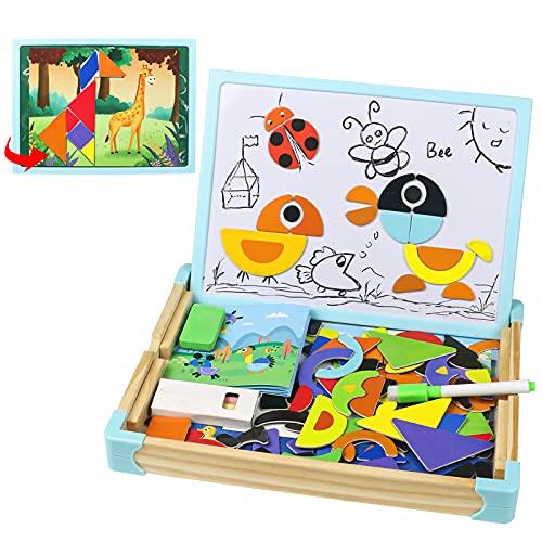 Pizarra Infantil Puzzle de Madera Pizarra Doble Cara Juguetes Montessori Magnetico Rompecabezas Caja de Madera Tablero de Dibujo Animal Puzzle Decoración Juguetes Educativos Juguetes Niños 3 4