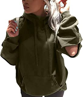 Aniywn Women's Hole Hooded Pullover Tops Cut Out Sweatshirt Pullover Hoodie Lightweight Sweatshirt with Pocket
