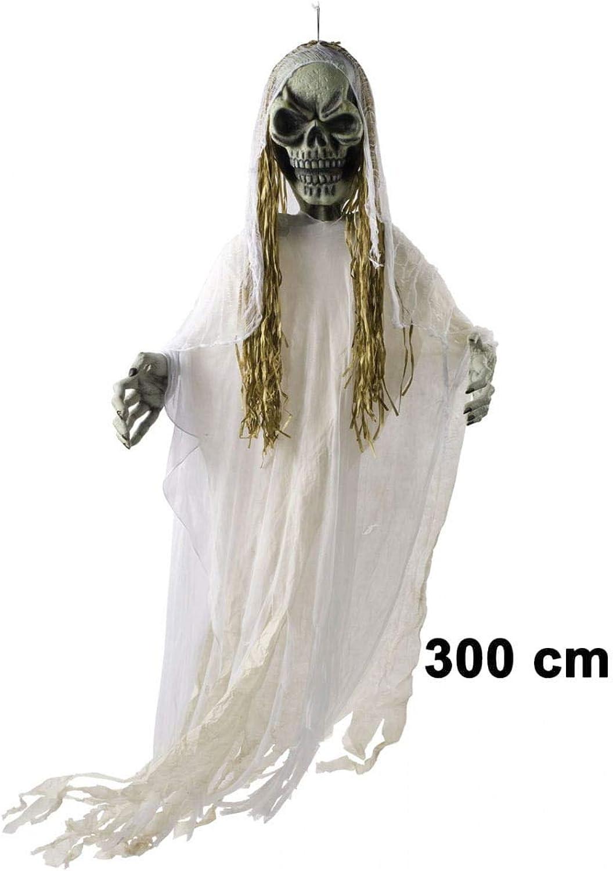 Horror-Shop Totenkopf Reaper Hngefigur 300 cm als Halloween-Deko in Geisterbahn-Qualitt