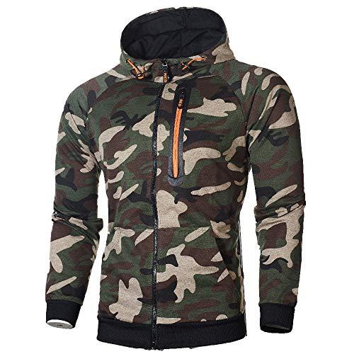 Geili Herren Kapuzenjacke Sweatjacke Oversized Camouflage Hoodie Langarm Reißverschluss Sweatshirtjacke Kapuzenpullover Workerhoodie Sport Sweatshirt mit Tasche
