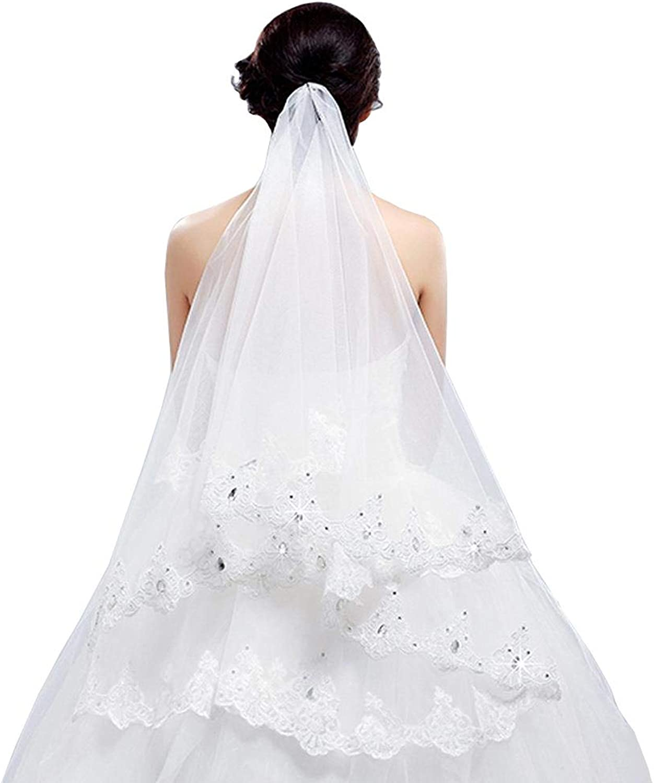 SYJPK Bridal Wedding Dress Headdress White lace Veil (color   White, Size   2m)
