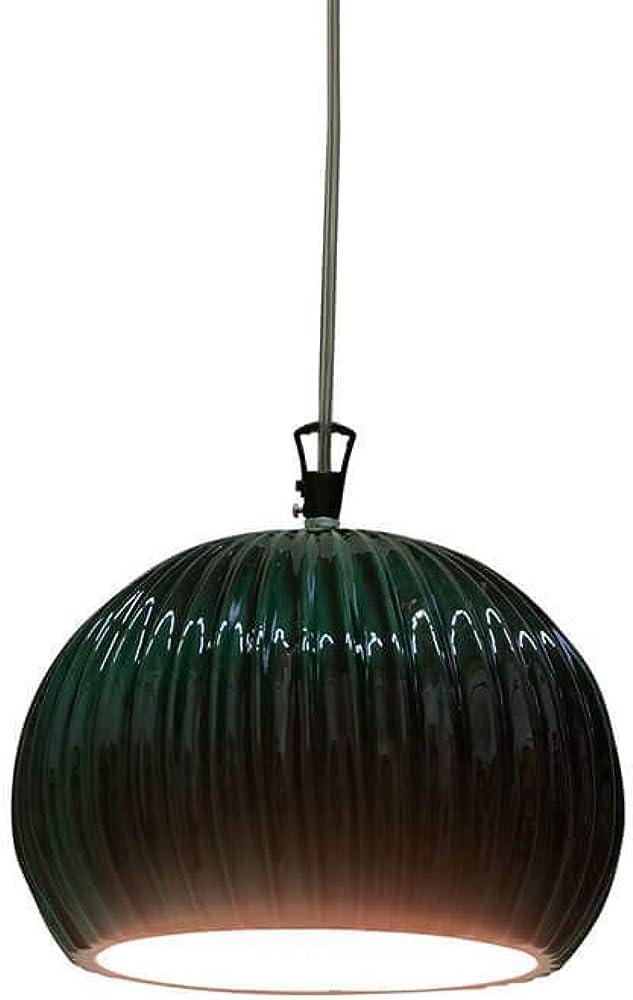 karman sahara, lampada a sospensione verde lucido,rosone in metallo nero lucido se668k-v
